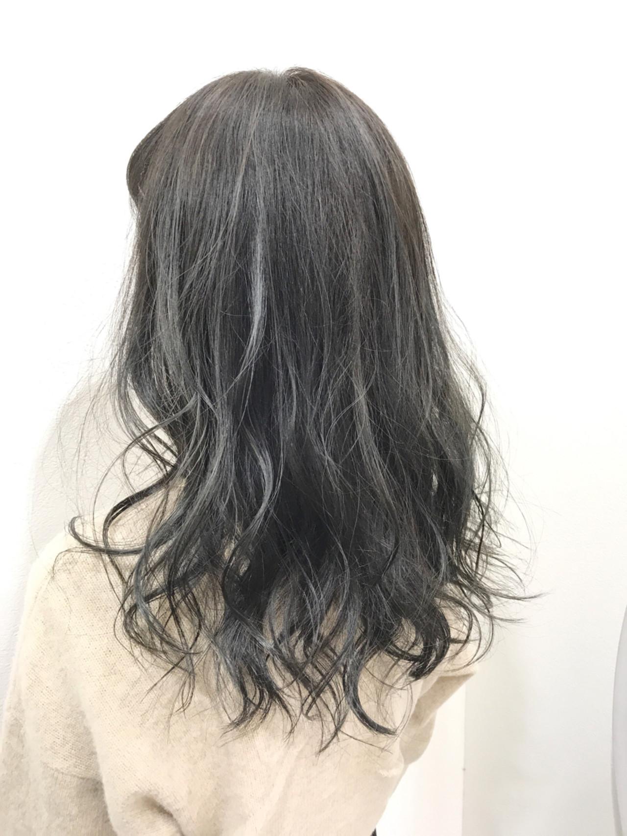 透明感 ガーリー ブルーアッシュ 黒髪 ヘアスタイルや髪型の写真・画像