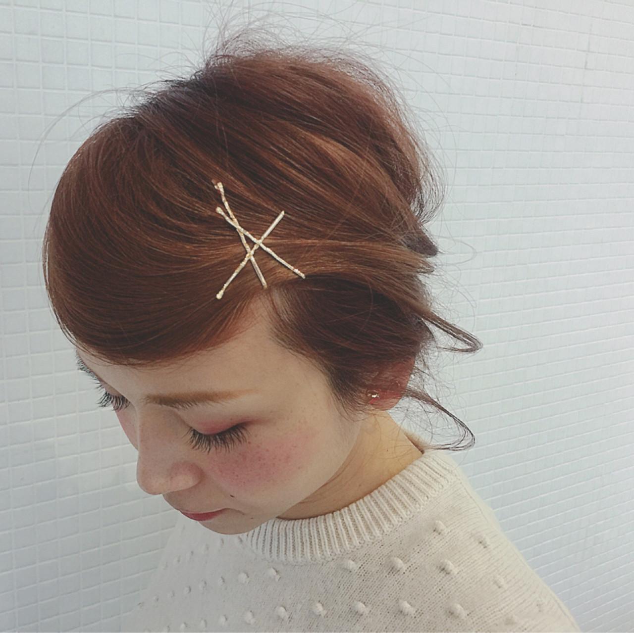 ヘアアクセ デート 簡単ヘアアレンジ ガーリー ヘアスタイルや髪型の写真・画像