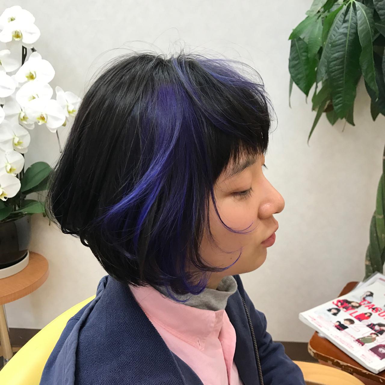 ショート パープル メッシュ ハイトーン ヘアスタイルや髪型の写真・画像