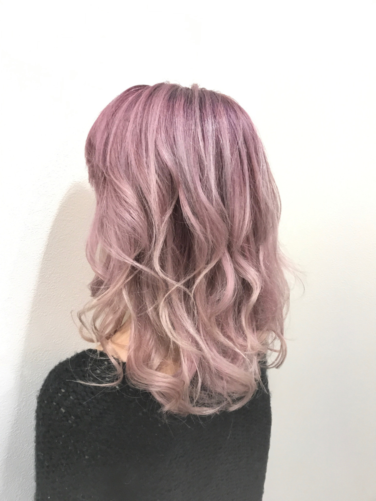 透明感 フェミニン ミディアム ピンク ヘアスタイルや髪型の写真・画像