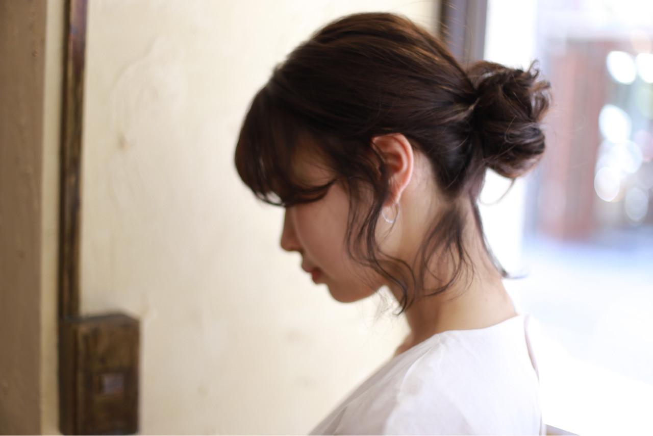 ルーズ 簡単ヘアアレンジ ボブ お団子 ヘアスタイルや髪型の写真・画像