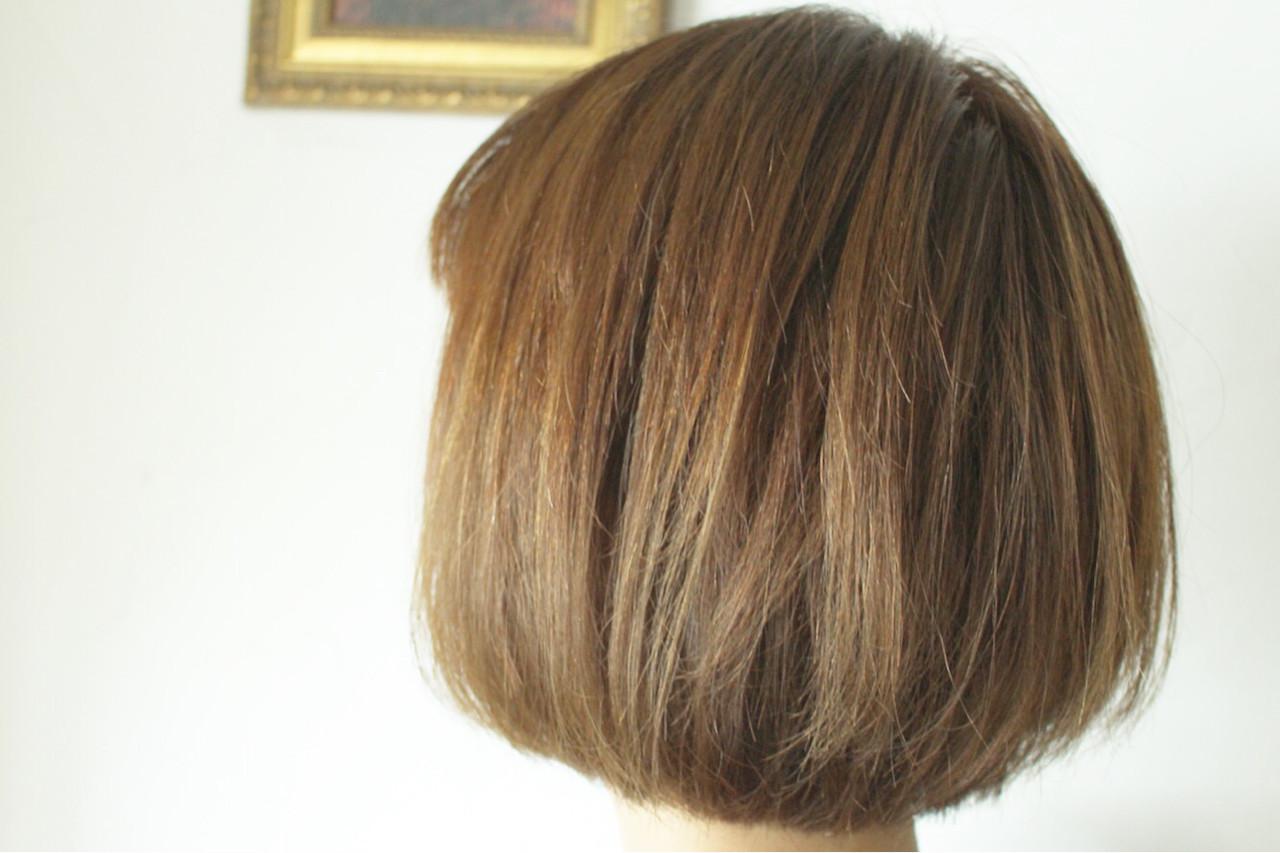 色気 ナチュラル ボブ 白髪染め ヘアスタイルや髪型の写真・画像