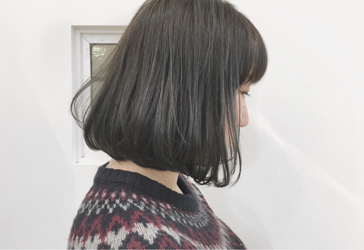 内巻き重めボブもネイビーアッシュならこなれ感UP! 越後 裕介 (Yusuke Echigo) | mod's hair 仙台長町(モッズ・ヘア)