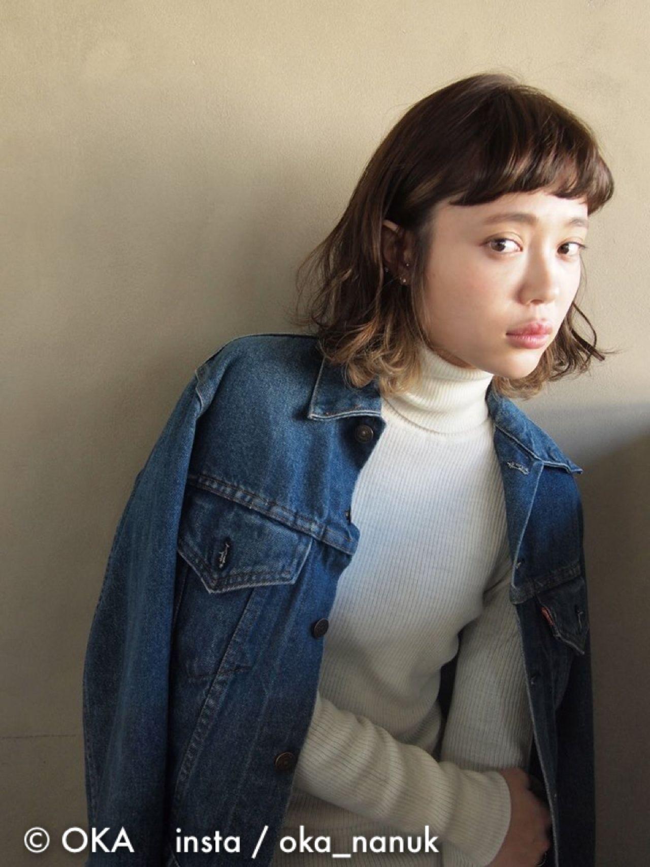 シンプルヘアもバレイヤージュカラーでおしゃれに 岡村 健太郎 / nanuk