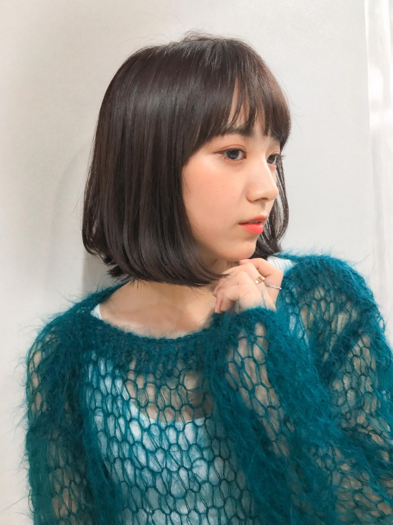 前髪ありのミディアムストレートは、面長さんにも◎ GARDEN harajyuku 細田