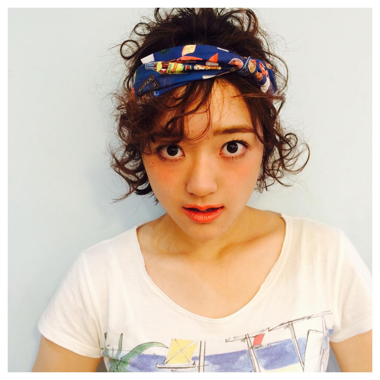 ゆるふわ 簡単ヘアアレンジ ショート パーマ ヘアスタイルや髪型の写真・画像