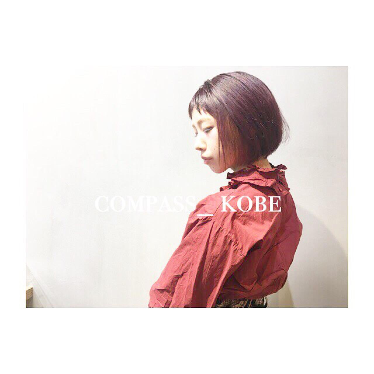 ギザギザ前髪のピンクブラウンのボブ♡ COM PASS タイチ