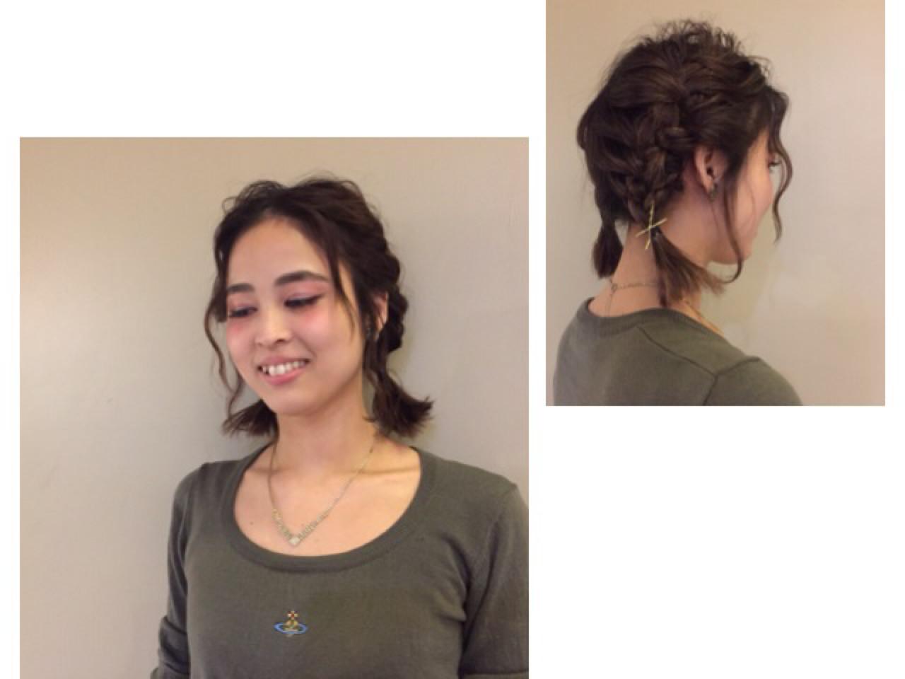三つ編みおさげのボブのカジュアルアレンジ 杉田 麻美