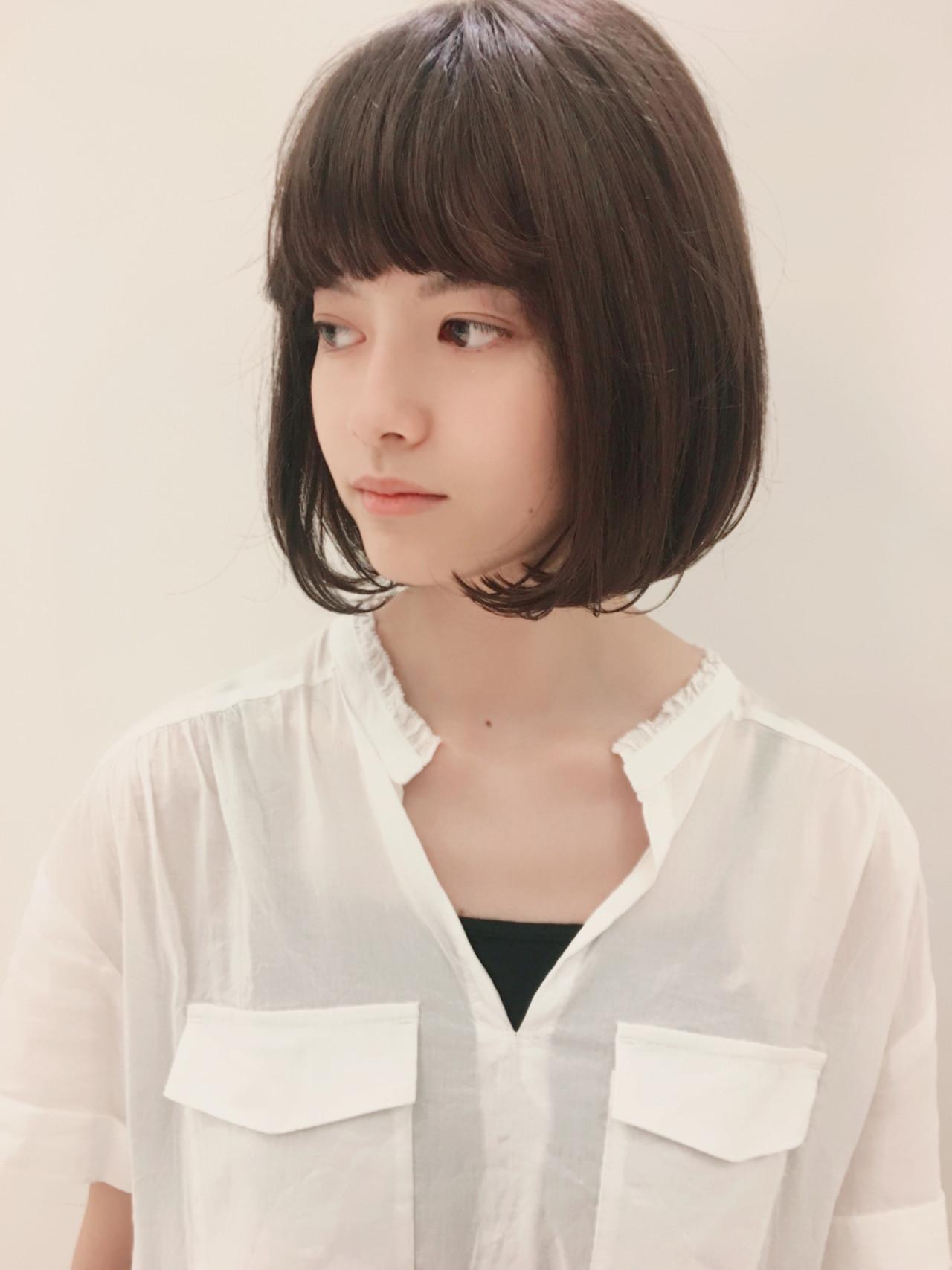 ぱっつん前髪×ワンカールボブパーマでフェミニンに 坂本一馬 | mod's hair