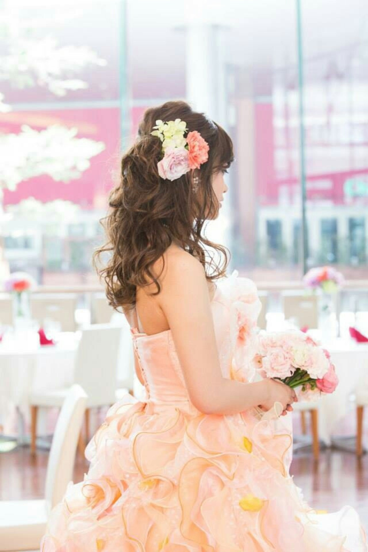 ブライダル 結婚式 大人かわいい ロング ヘアスタイルや髪型の写真・画像