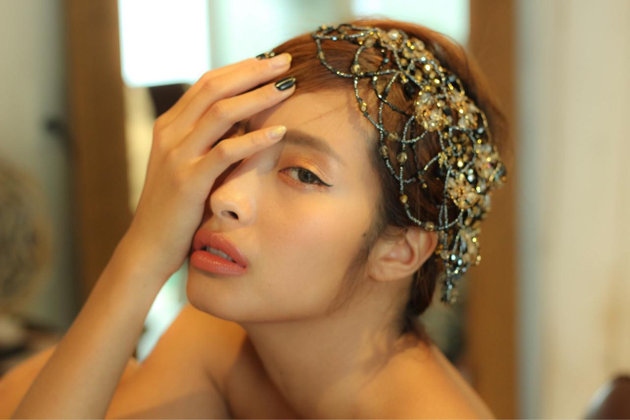 ショート 簡単ヘアアレンジ 結婚式 外国人風 ヘアスタイルや髪型の写真・画像