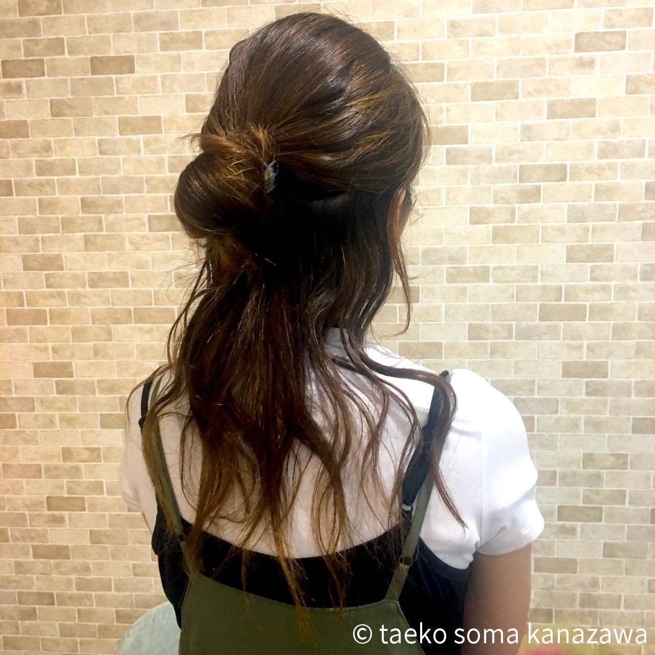 ヘアアレンジ お団子 ハーフアップ セミロング ヘアスタイルや髪型の写真・画像