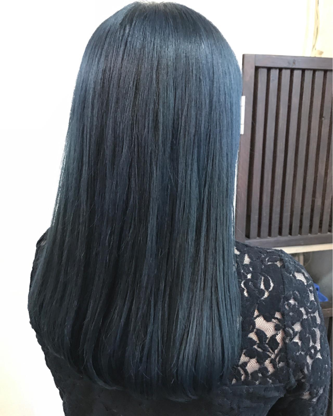 ネイビー ブルー ロング モード ヘアスタイルや髪型の写真・画像