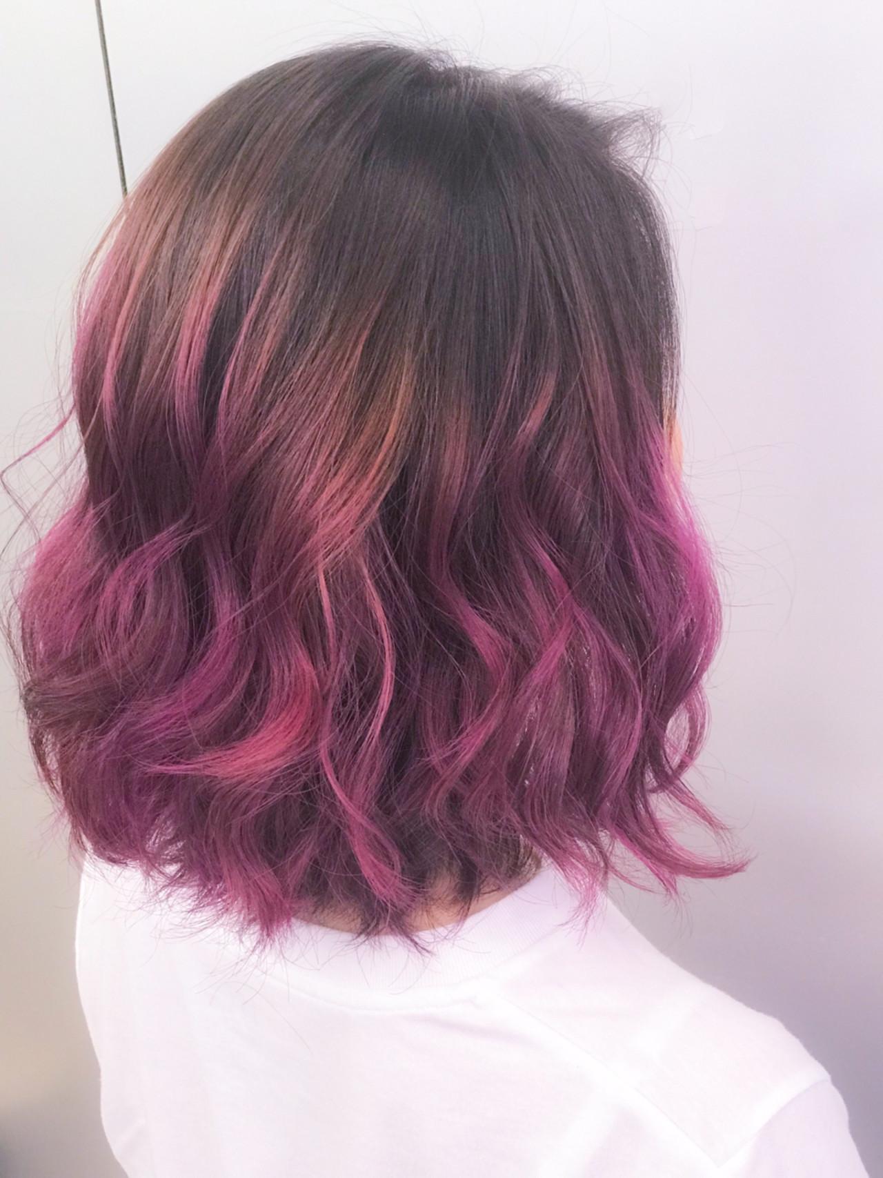 ゆるふわ女性のピンクグラデーションヘア YUKA