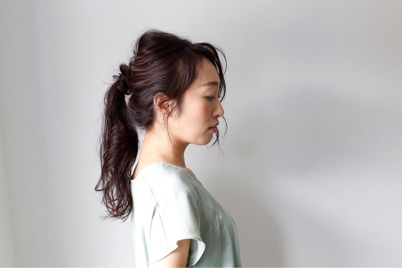 ロング 女子力 簡単ヘアアレンジ ナチュラル ヘアスタイルや髪型の写真・画像