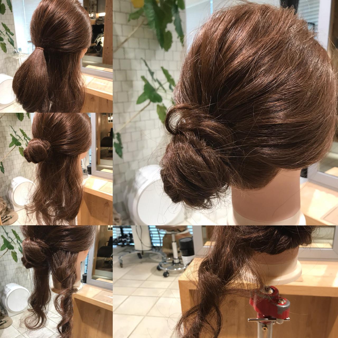 簡単ヘアアレンジ セミロング お団子 ヘアアレンジ ヘアスタイルや髪型の写真・画像