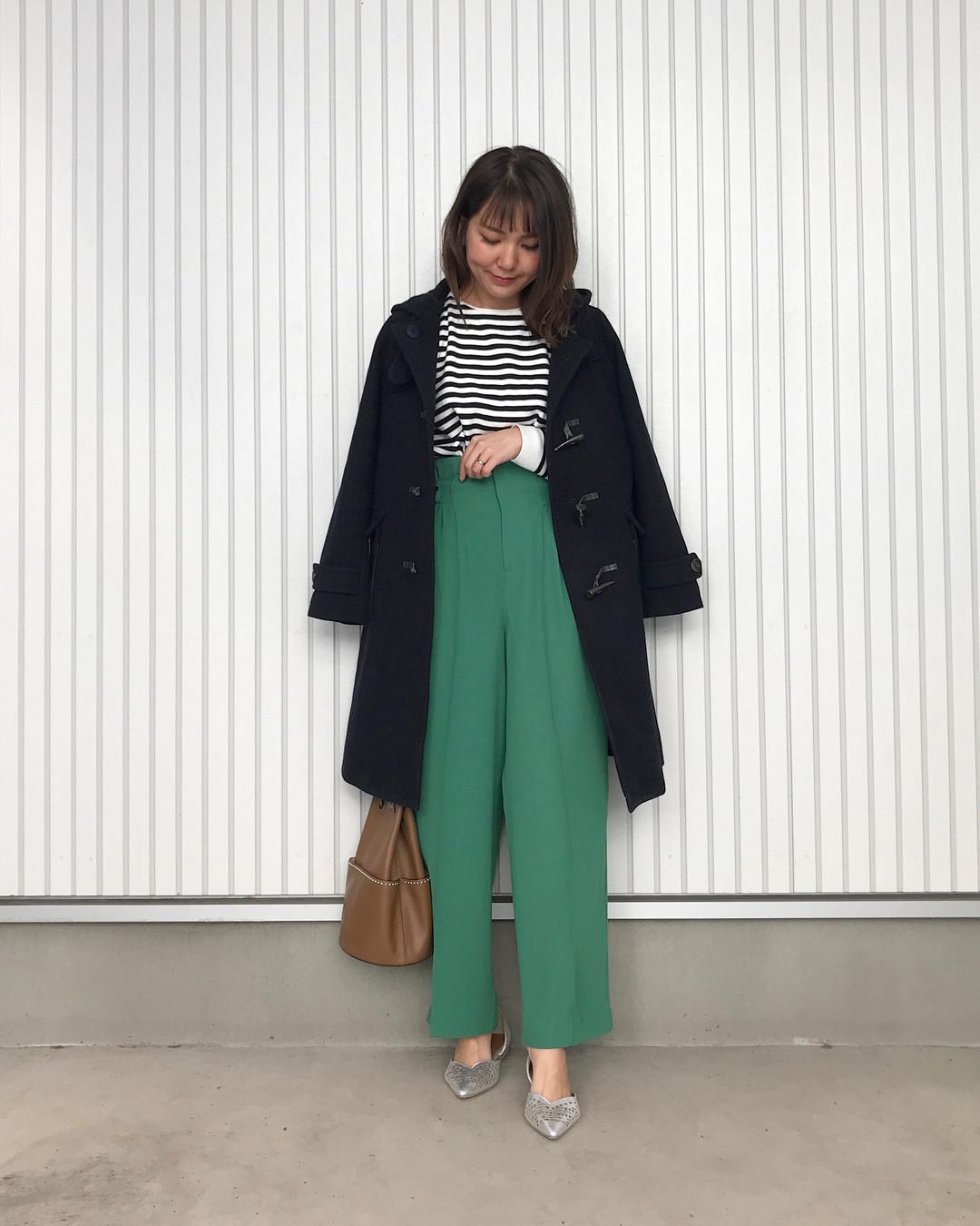 グリーンのワイドパンツでトレンド感 natsu420