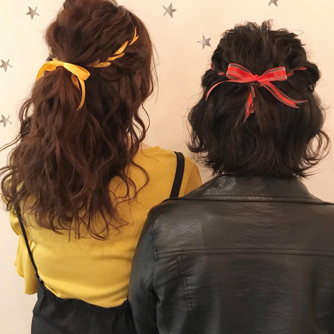 編み込み ヘアアレンジ ミディアム ストリート ヘアスタイルや髪型の写真・画像