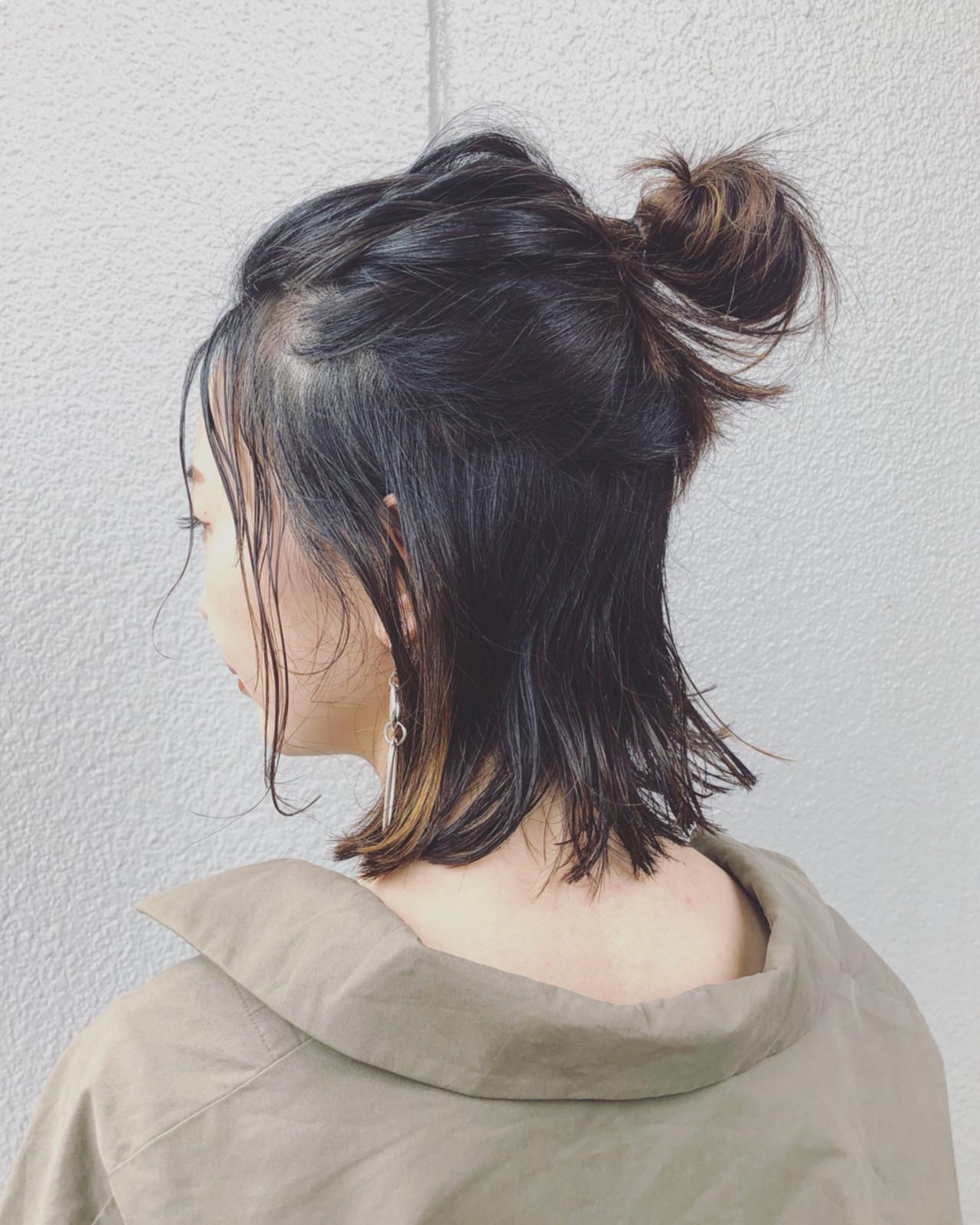 カジュアル好きに!束感アリのお団子ハーフアップ 三好 佳奈美