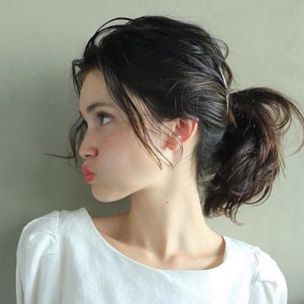 ショート ポニーテール 簡単ヘアアレンジ ミディアム ヘアスタイルや髪型の写真・画像