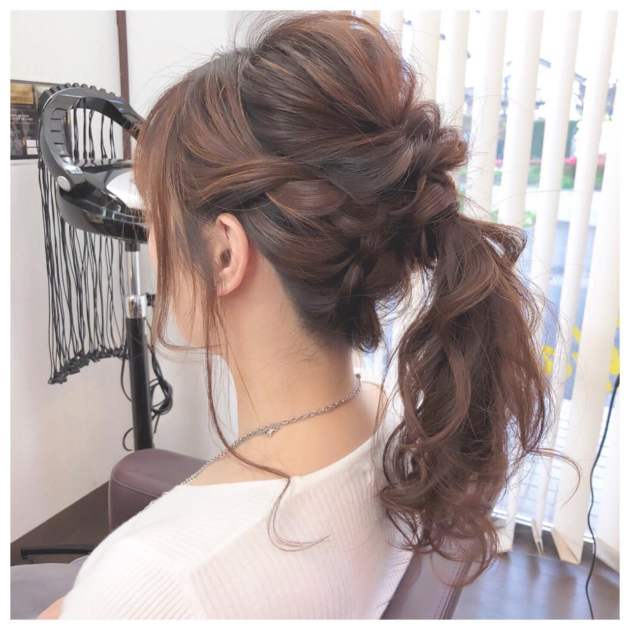 結婚式 ヘアアレンジ フェミニン ミディアム ヘアスタイルや髪型の写真・画像
