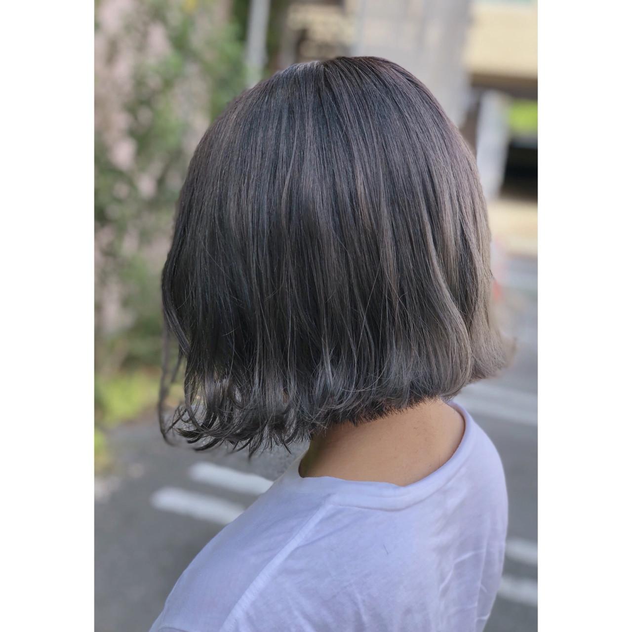 ボブ アッシュグレージュ グレージュ 外国人風カラー ヘアスタイルや髪型の写真・画像
