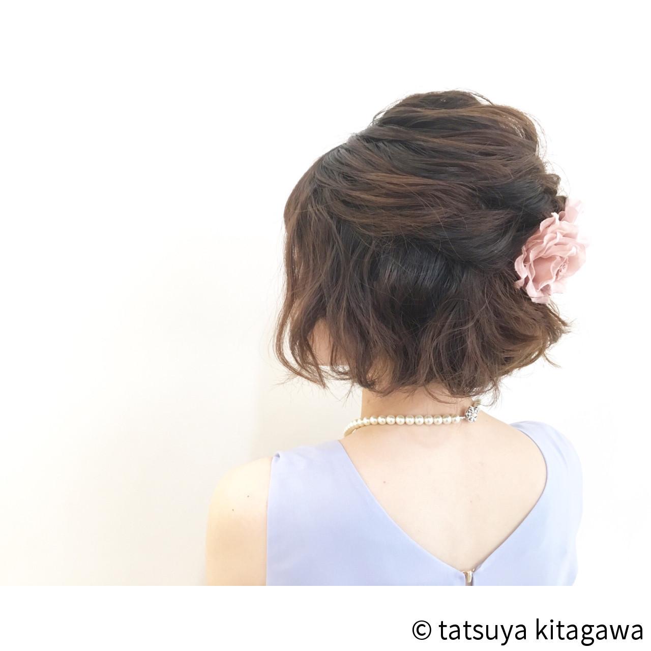 ハーフアップ 二次会 外国人風 ゆるふわ ヘアスタイルや髪型の写真・画像