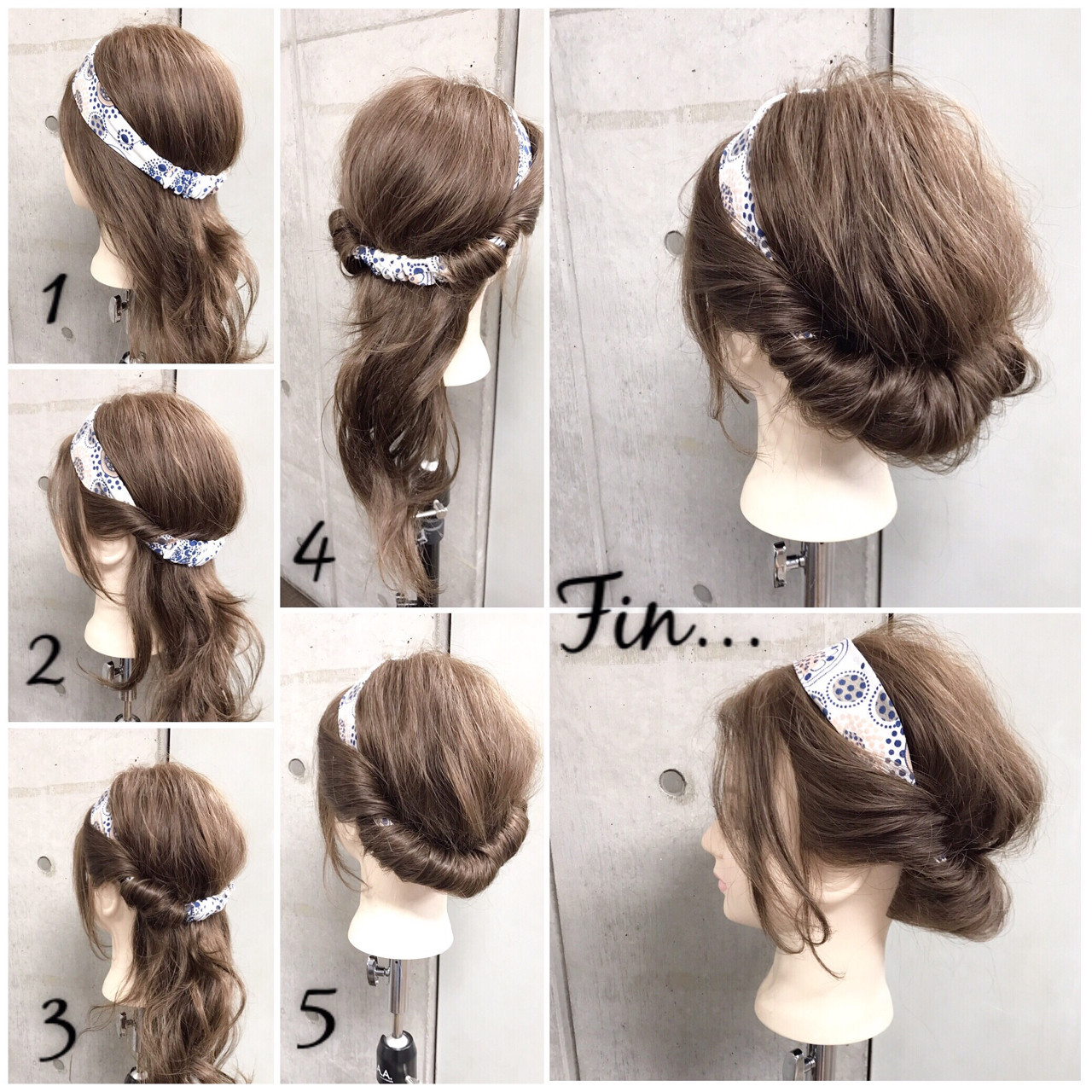 ギブソンタック セミロング 簡単ヘアアレンジ 女子会 ヘアスタイルや髪型の写真・画像