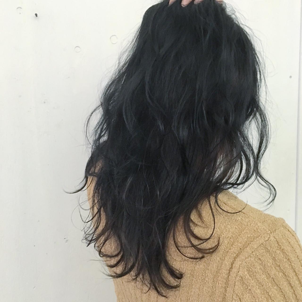暗髪 モード ネイビー セミロング ヘアスタイルや髪型の写真・画像