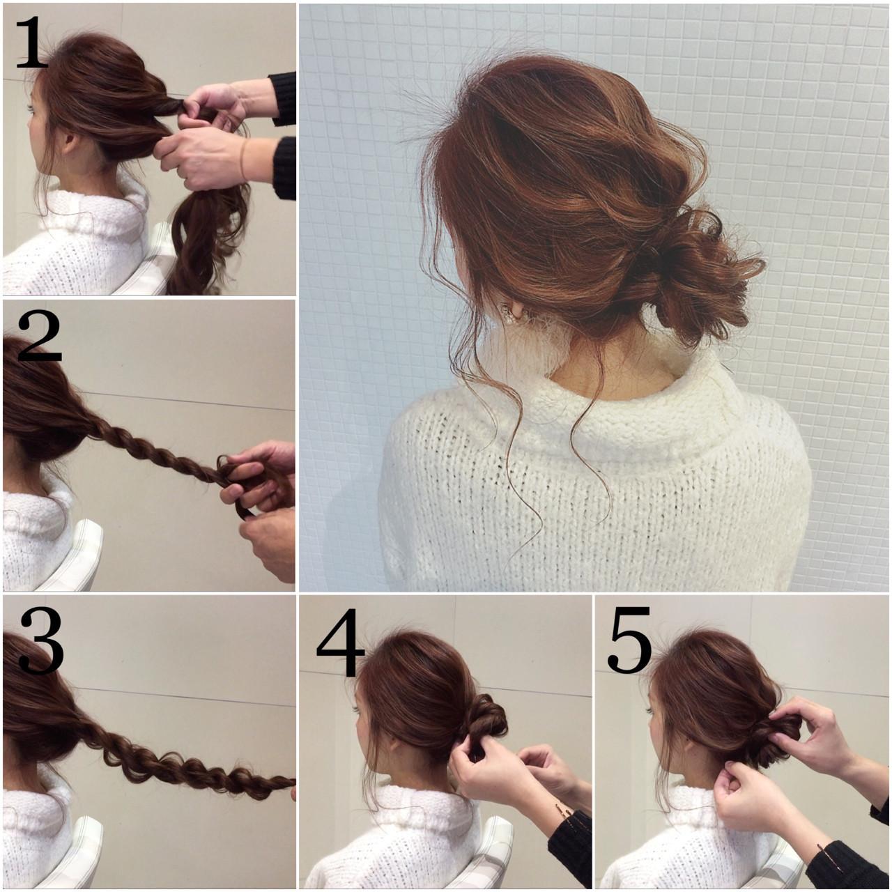 ロング お団子 簡単ヘアアレンジ フェミニン ヘアスタイルや髪型の写真・画像