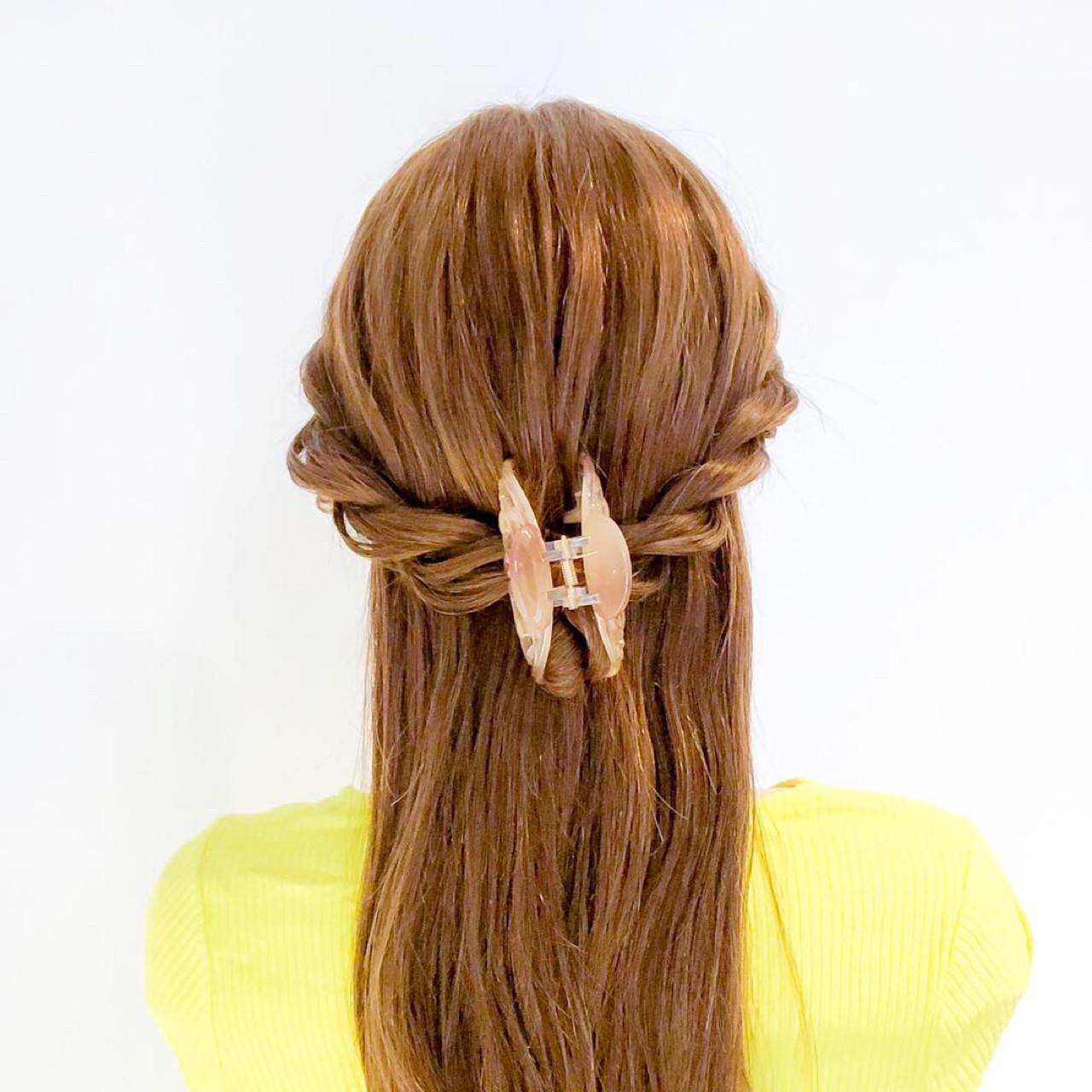 ロング ヘアクリップ 簡単ヘアアレンジ ショート ヘアスタイルや髪型の写真・画像