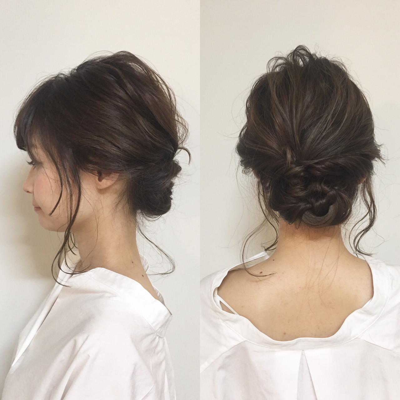 アップスタイル ミディアム ヘアアレンジ 簡単 ヘアスタイルや髪型の写真・画像