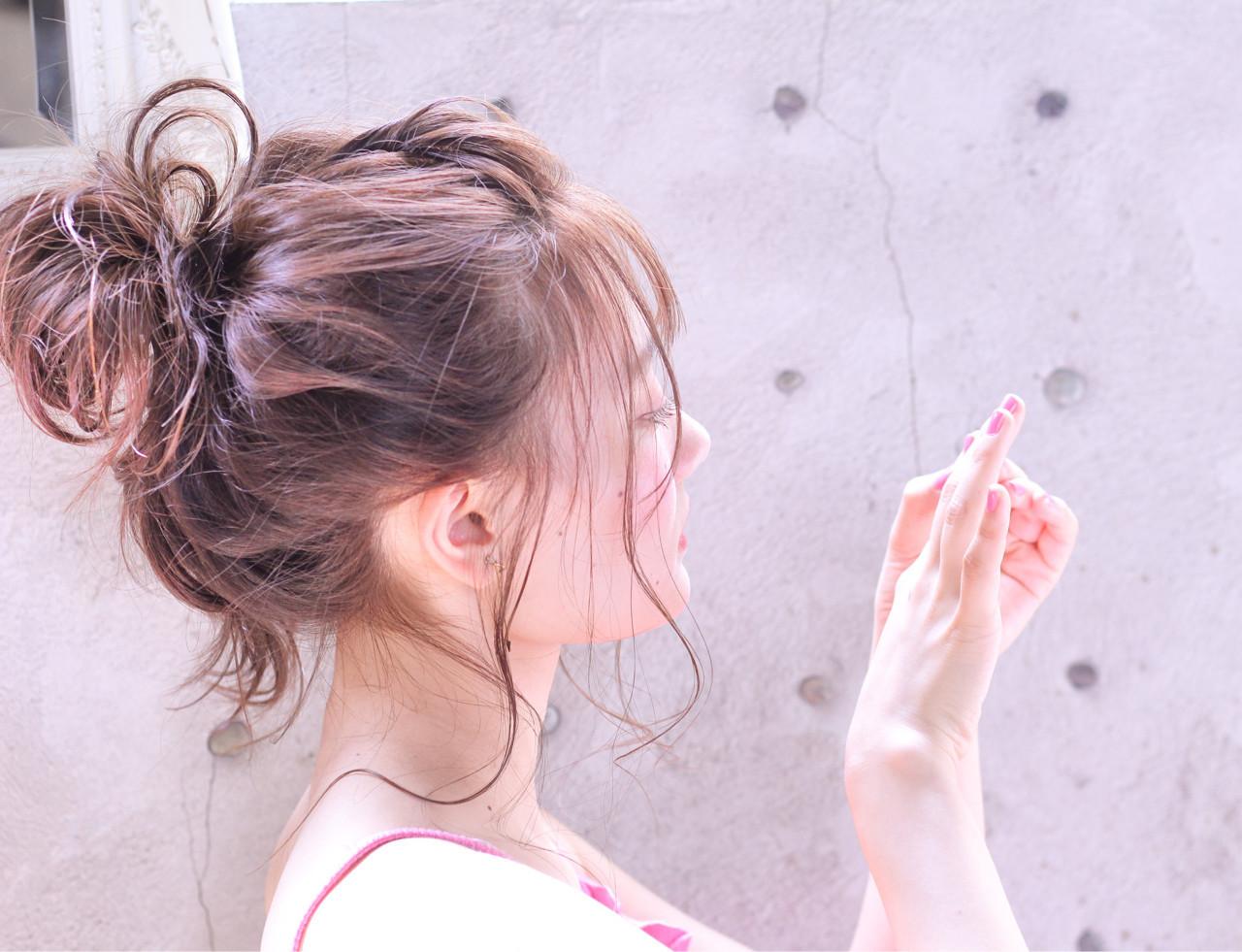 涼しげ ヘアアレンジ フェミニン 夏 ヘアスタイルや髪型の写真・画像