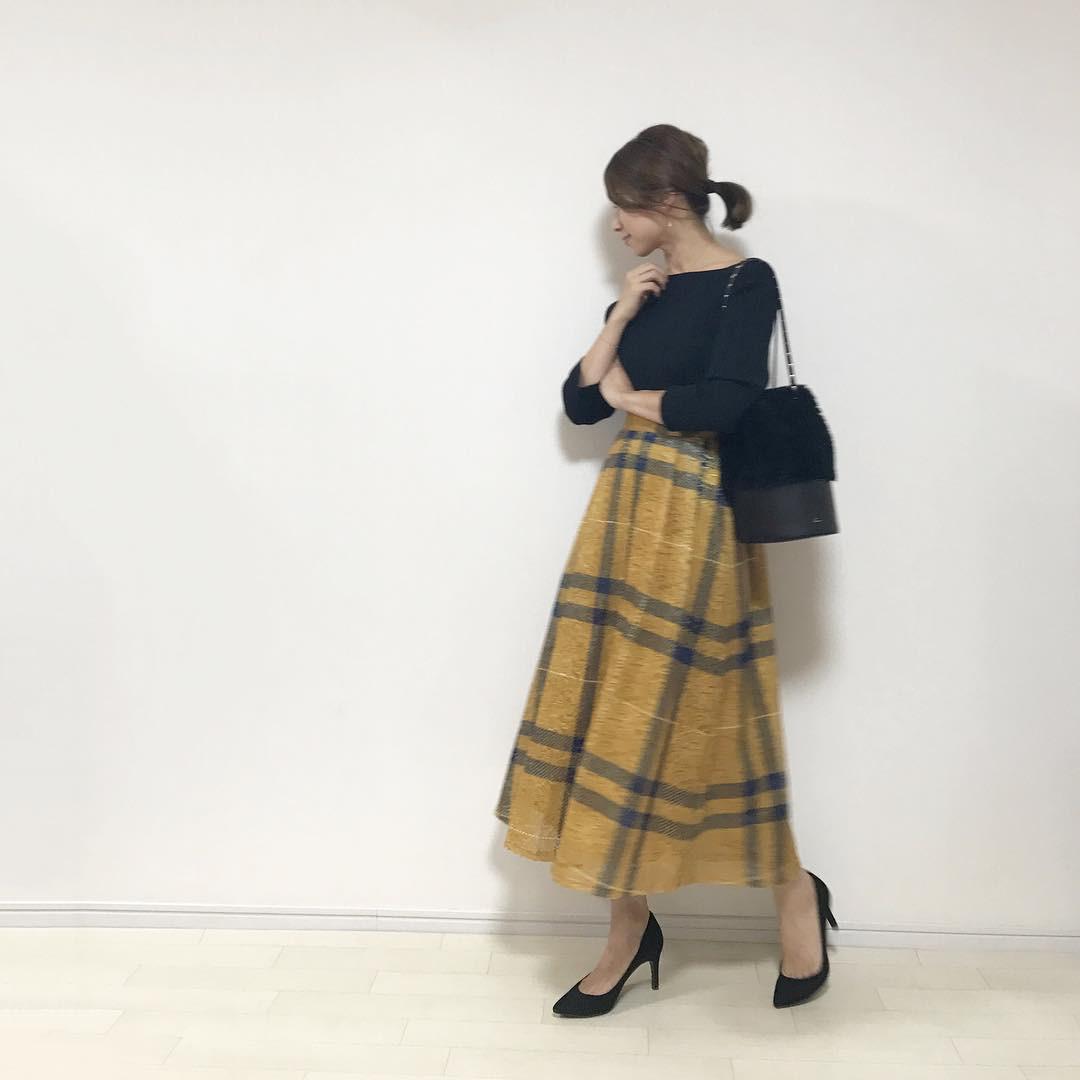 秋っぽチェック柄スカートでインパクト大 yu.rm