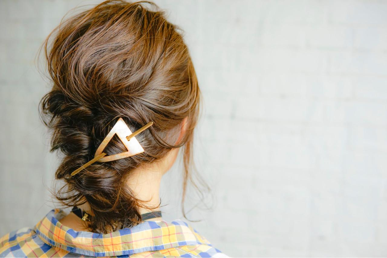 くるりんぱ アッシュ ヘアアレンジ ミディアム ヘアスタイルや髪型の写真・画像