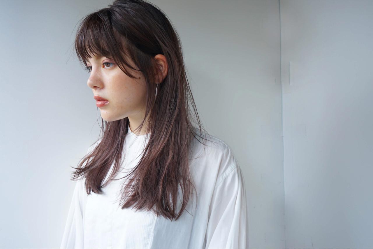 ロング 女子力 オン眉 セミロング ヘアスタイルや髪型の写真・画像