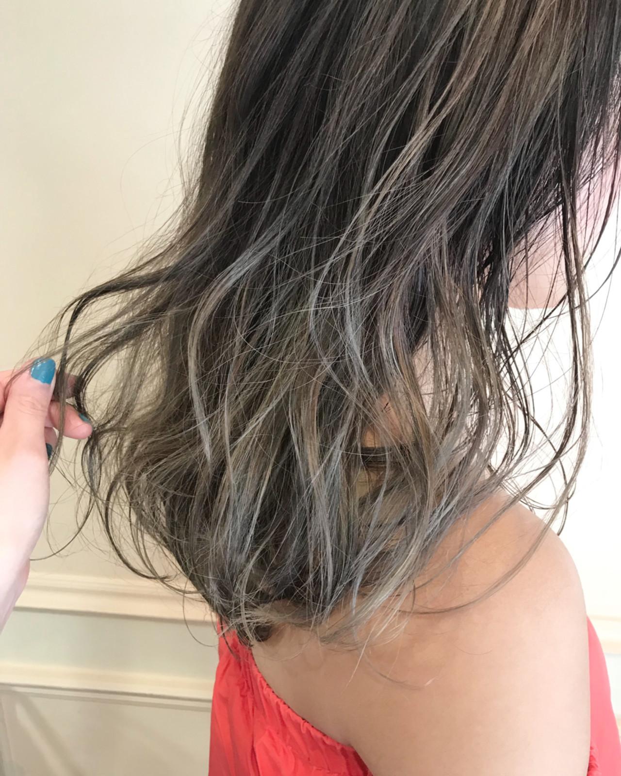 グラデーションカラー ロング ヘアアレンジ ハイライト ヘアスタイルや髪型の写真・画像