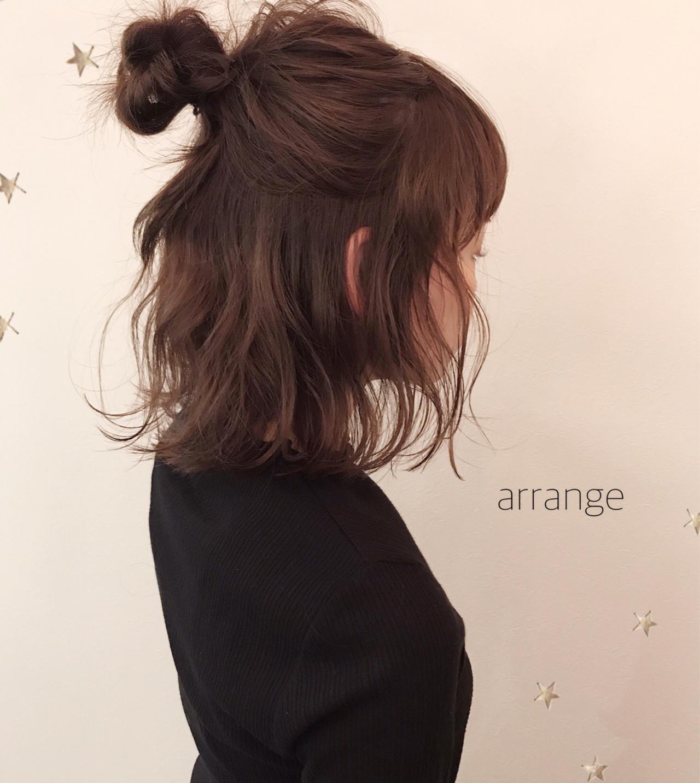 ハーフアップ ナチュラル ヘアアレンジ 簡単ヘアアレンジ ヘアスタイルや髪型の写真・画像