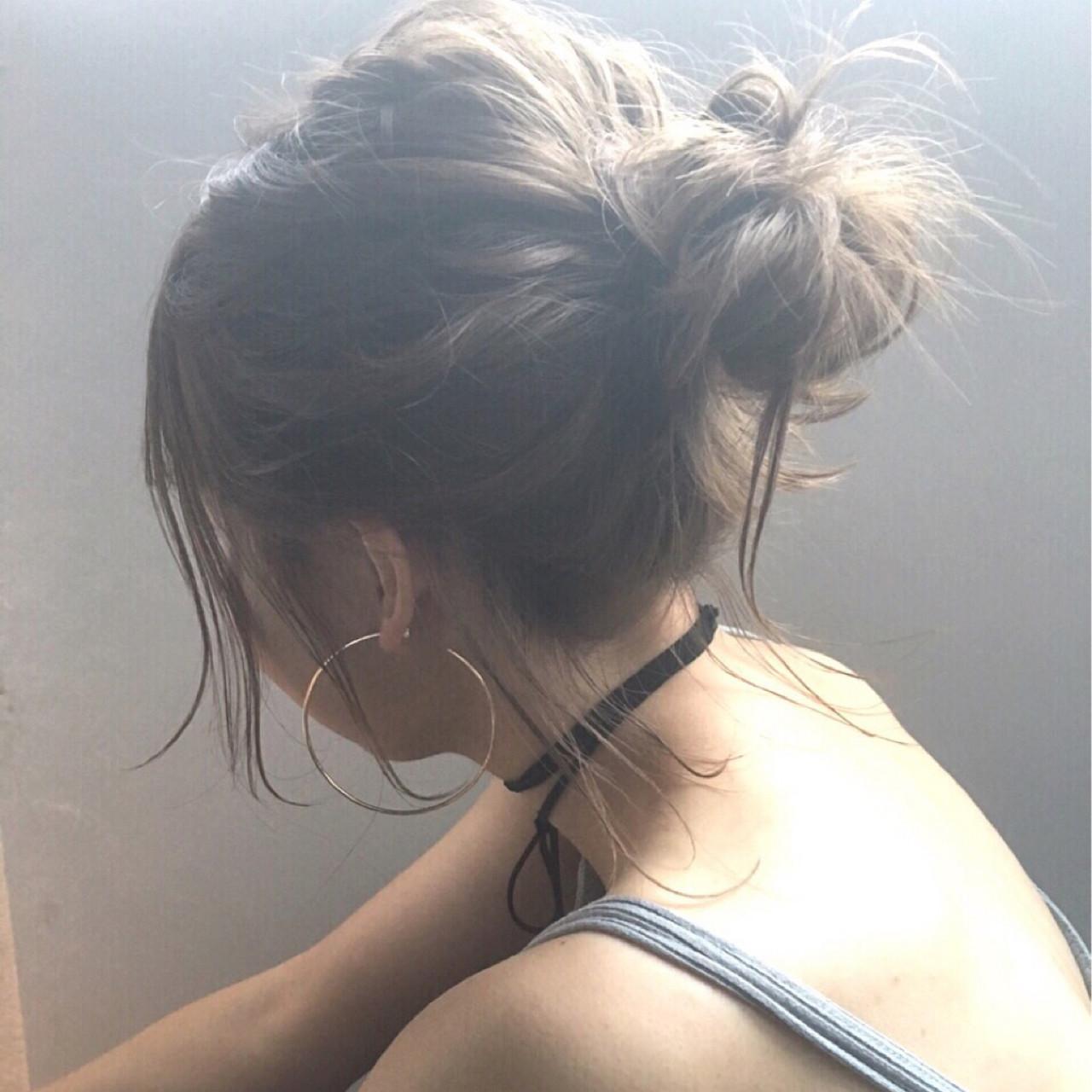 ヘアアレンジ お団子 デート 簡単ヘアアレンジ ヘアスタイルや髪型の写真・画像