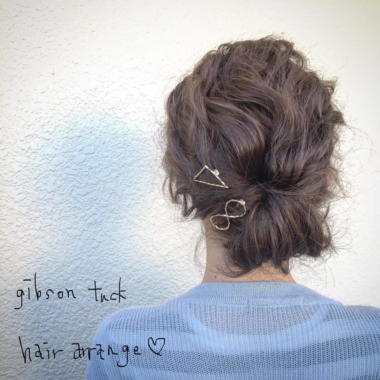 ヘアアレンジ ミディアム ギブソンタック ヘアスタイルや髪型の写真・画像