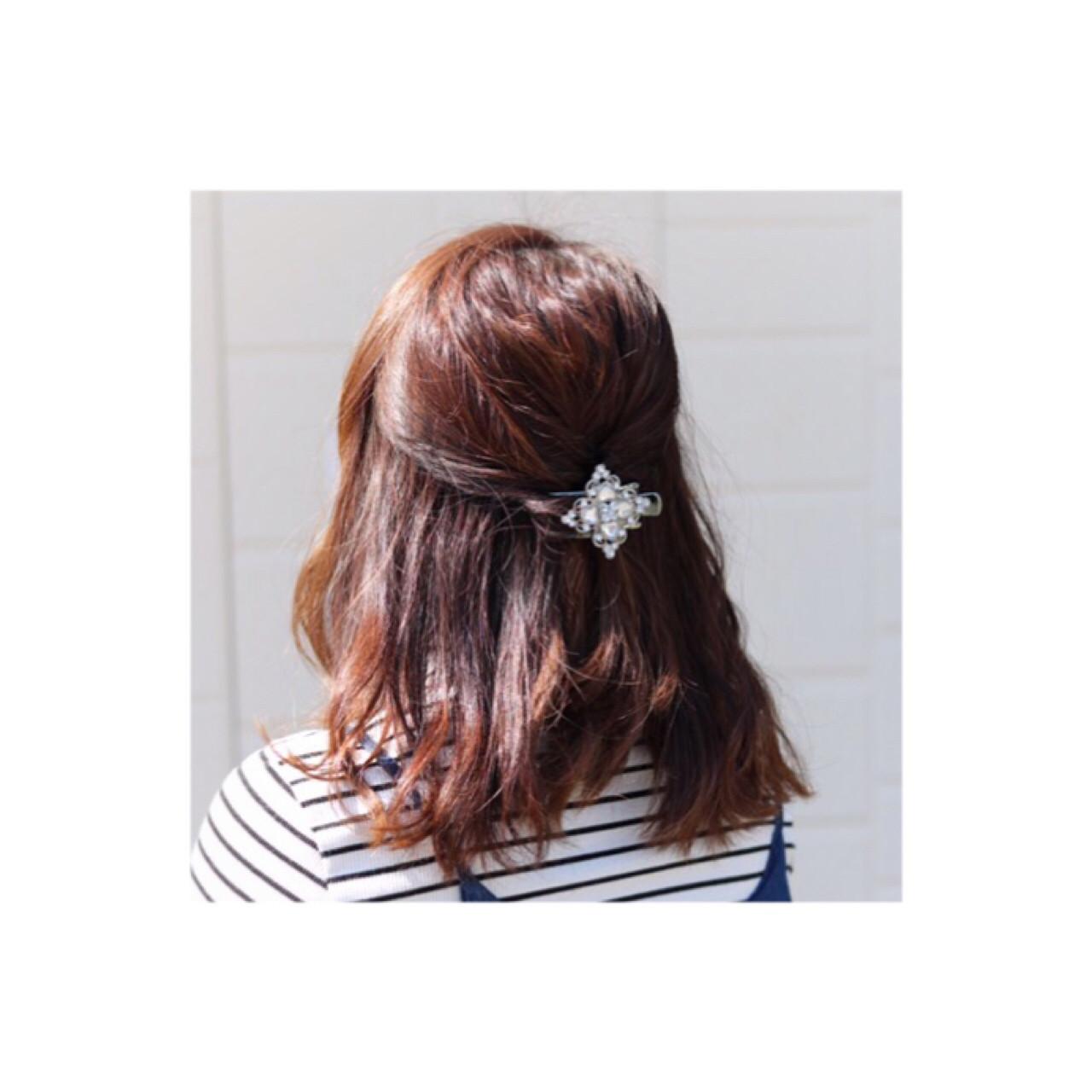 ヘアアレンジ ミディアム 簡単ヘアアレンジ ハーフアップ ヘアスタイルや髪型の写真・画像