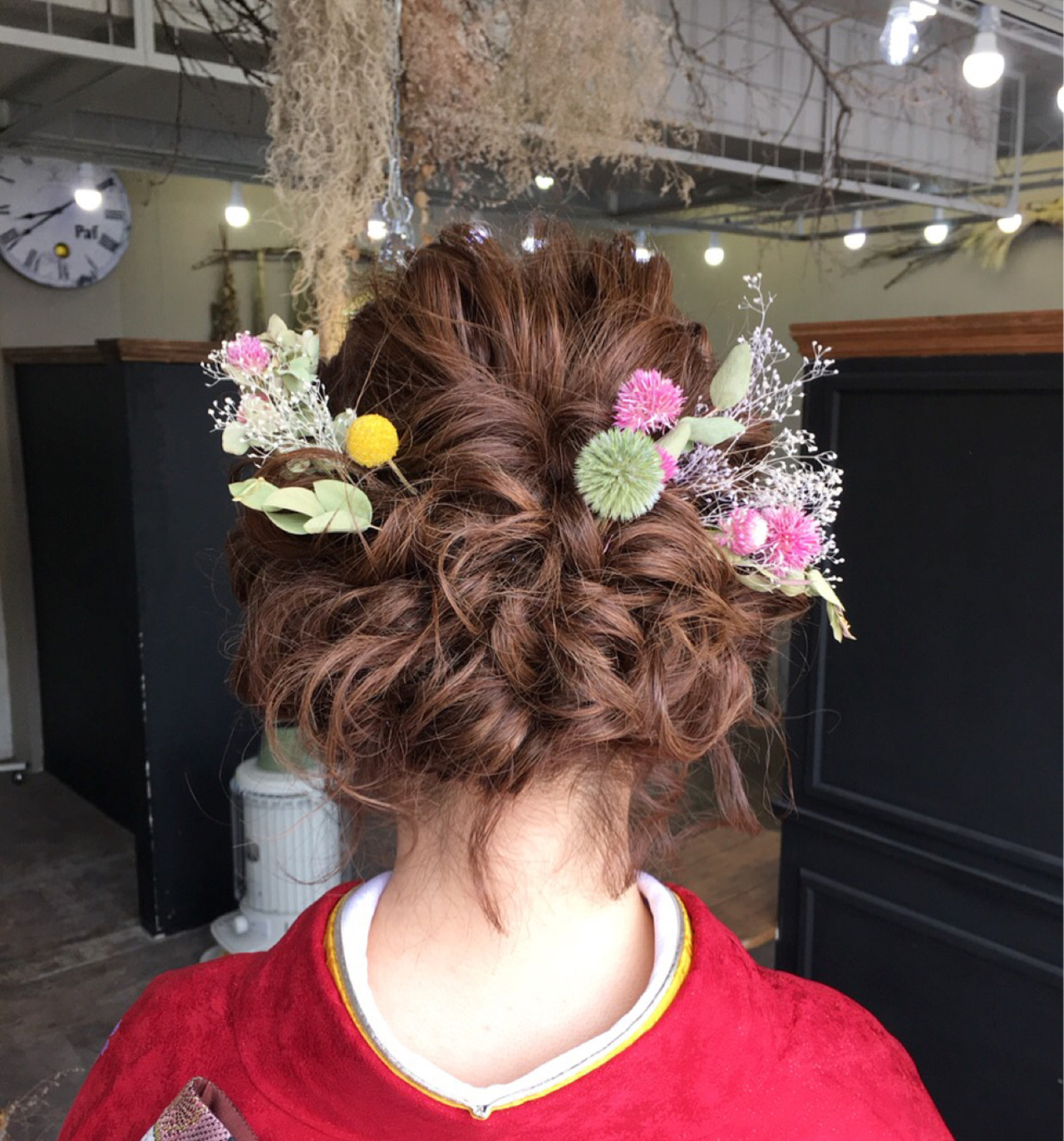 ミディアム 結婚式 ヘアアレンジ フェミニン ヘアスタイルや髪型の写真・画像