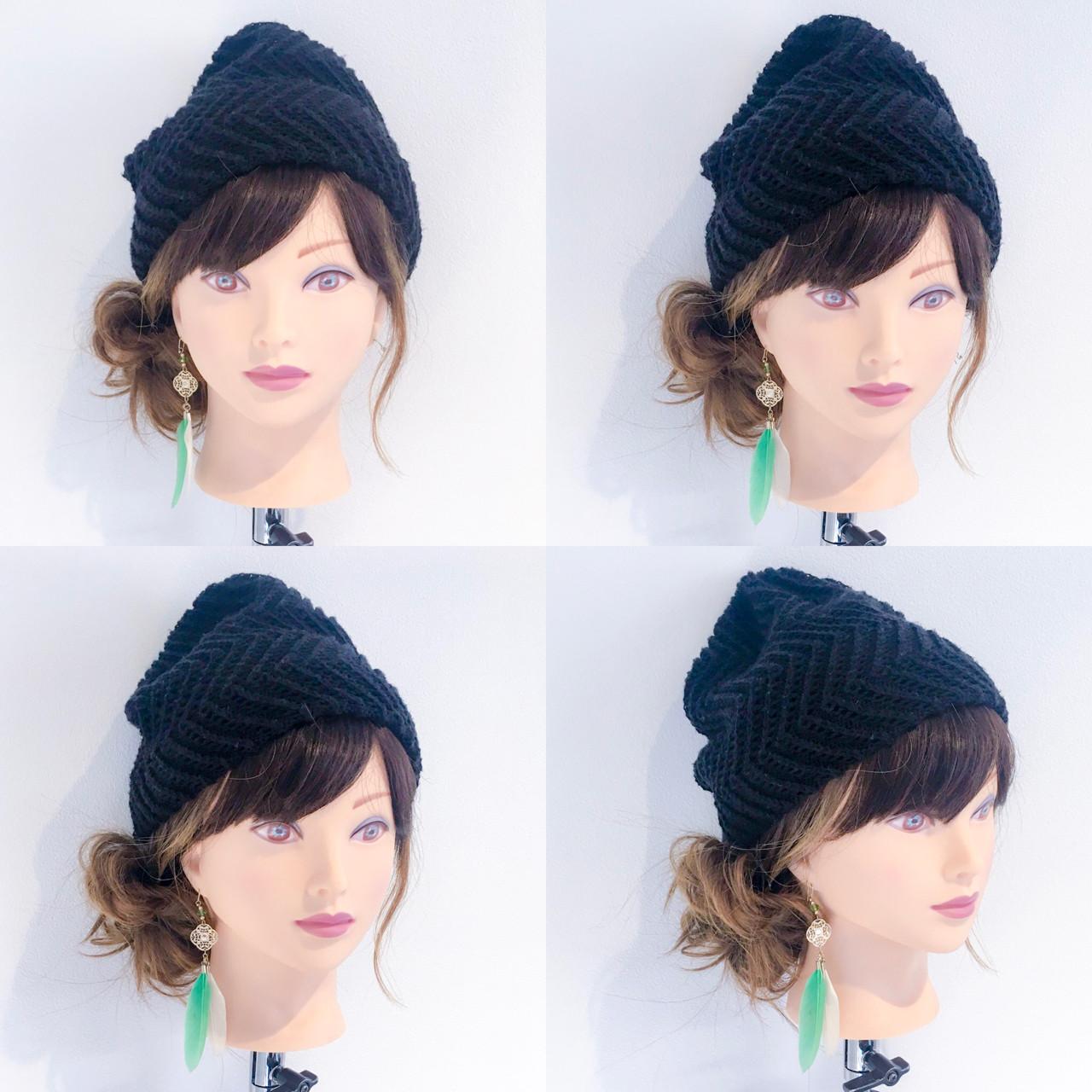 ヘアアレンジ セミロング ナチュラル ニット ヘアスタイルや髪型の写真・画像