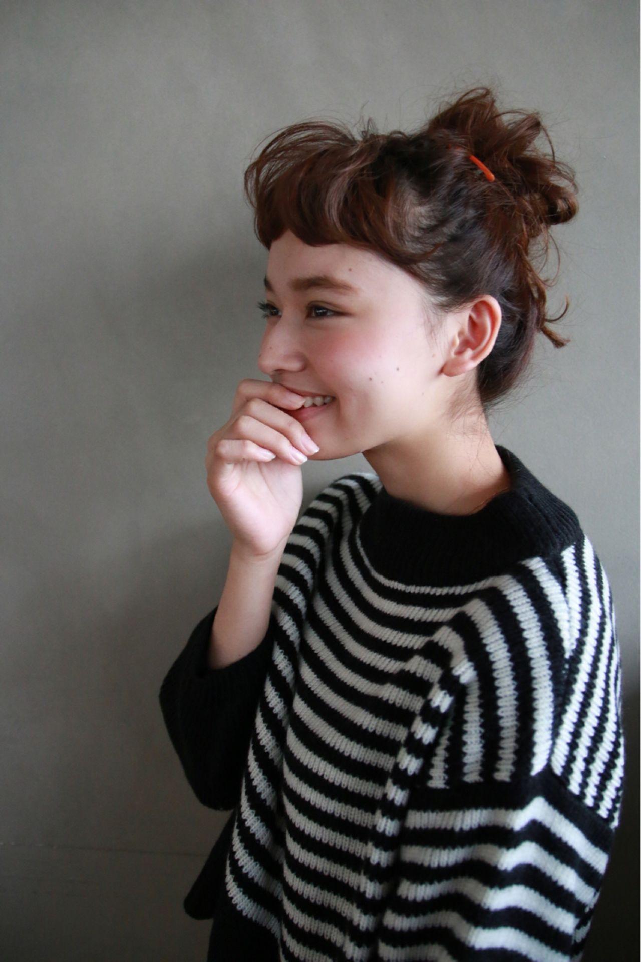 ナチュラル ヘアアレンジ ストリート オン眉 ヘアスタイルや髪型の写真・画像