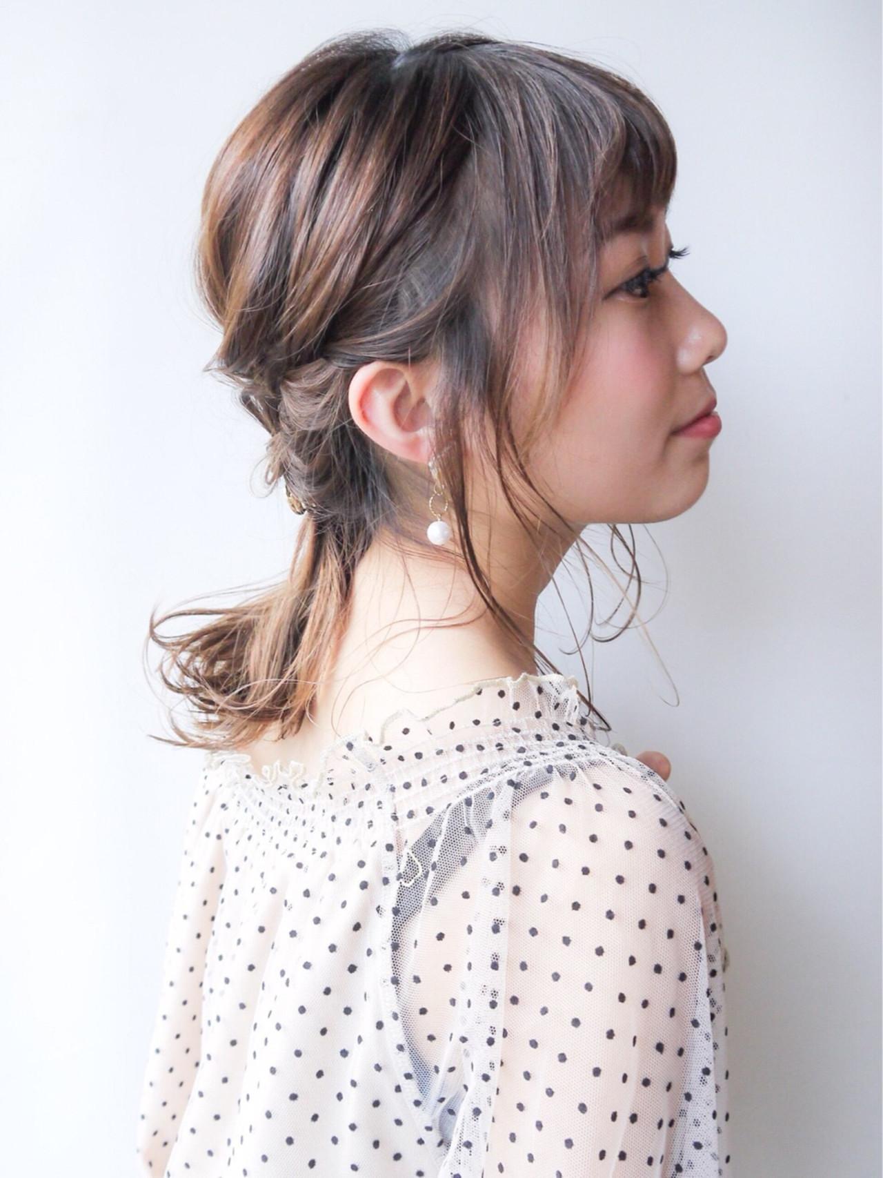 女子力 大人かわいい ヘアアレンジ セミロング ヘアスタイルや髪型の写真・画像