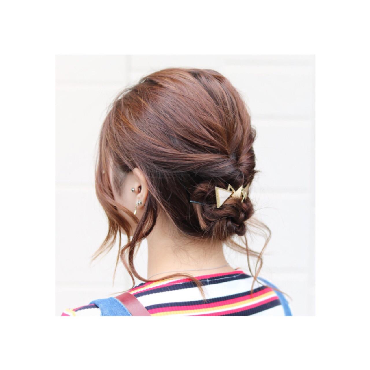 ナチュラル ヘアアレンジ ミディアム デート ヘアスタイルや髪型の写真・画像