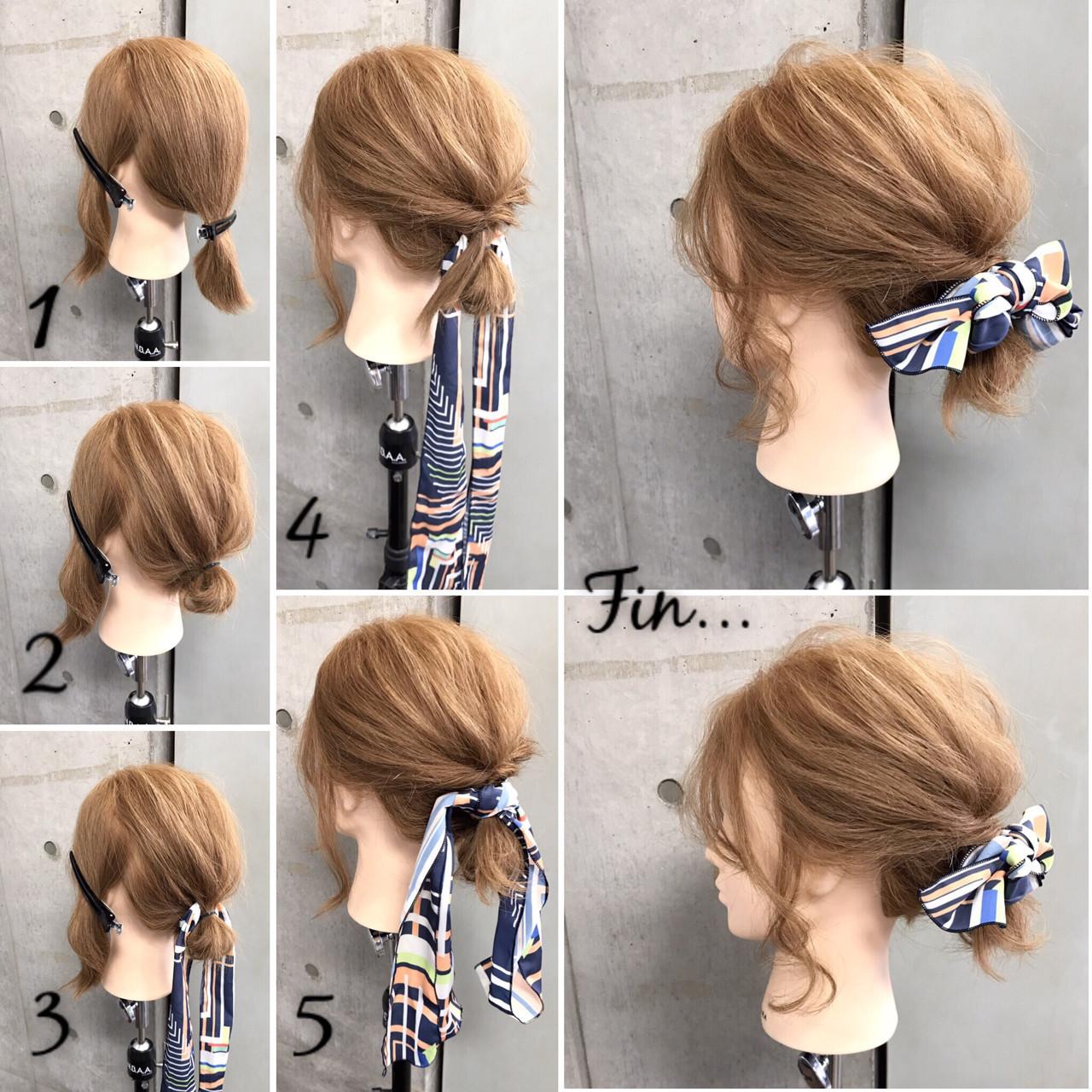 ボブ 大人女子 ヘアアクセ 簡単ヘアアレンジ ヘアスタイルや髪型の写真・画像