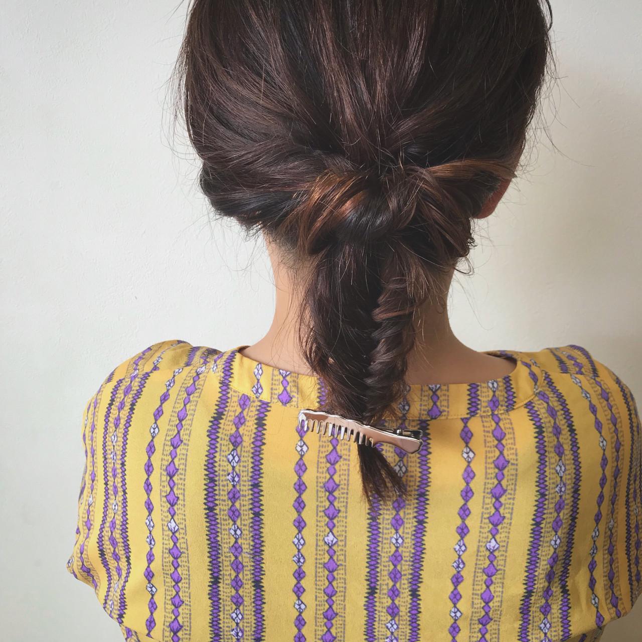 くるりんぱ フェミニン フィッシュボーン セミロング ヘアスタイルや髪型の写真・画像