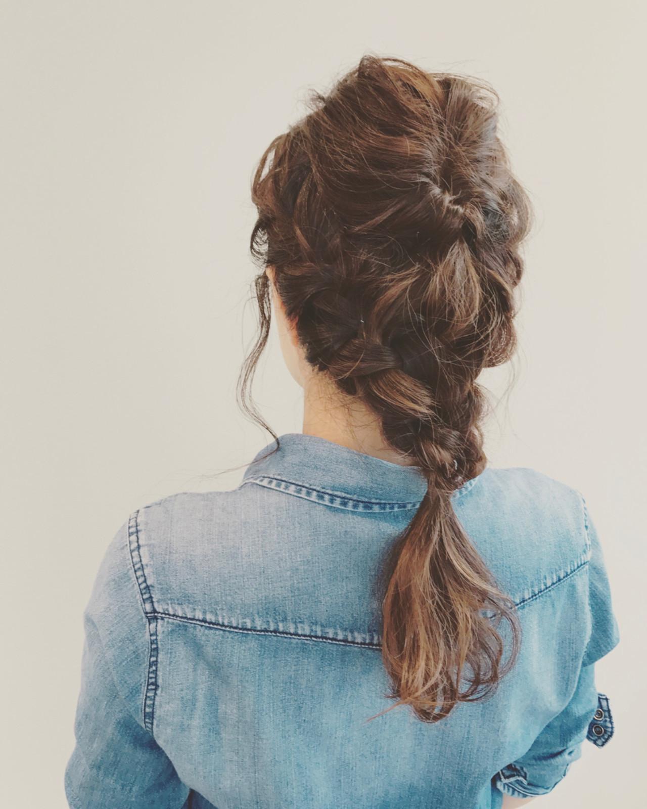 編み込み デート くるりんぱ ロング ヘアスタイルや髪型の写真・画像