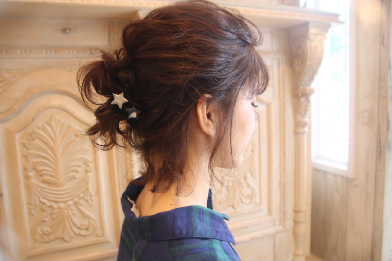 冬 お団子 ナチュラル 簡単ヘアアレンジ ヘアスタイルや髪型の写真・画像